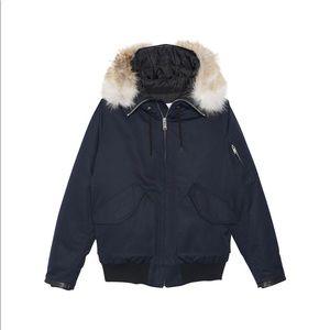 Sandro designer puffer jacket coat Fox Fur size M